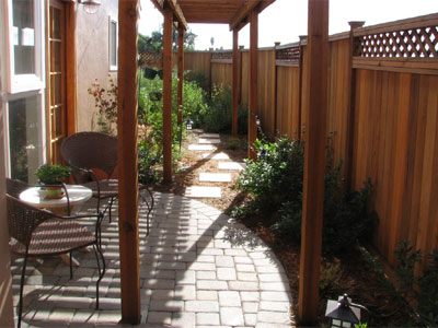 Shade structure, path, and patio