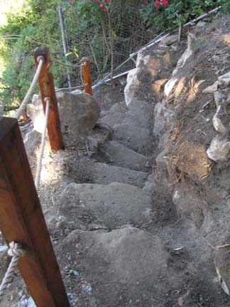 Natural rock steps on steep slope