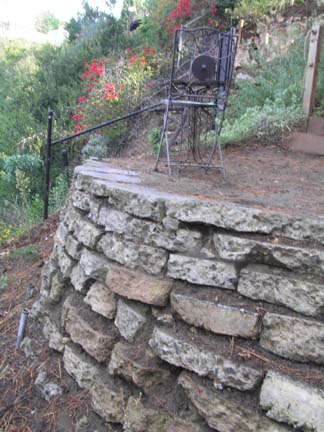 Retaining wall and sitting area